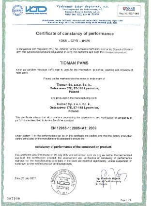 Certificate 1358 CPR 0129 Tioman PVMS EN + EN