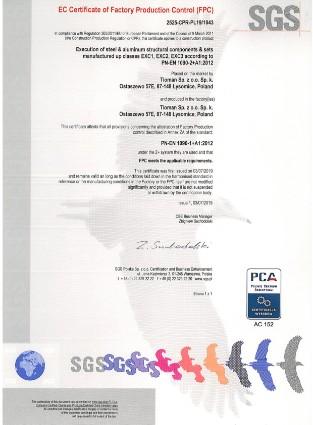 Certificate EN 1090 SGS 2525-CPR-EN19