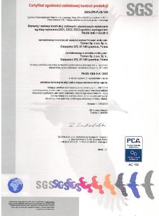 Certificate EN 1090 SGS 2525 CPR PL19