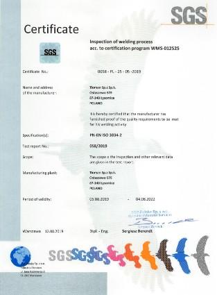 SGS Certificate PN EN 3834 0058 EN