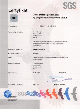 SGS Certificate PN EN 3834 0058 EN 25 05 2019