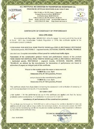 Certificate vertical signs and boards 1833 CPR 066 EN 2021